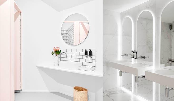 ideas de iluminacion para baños de restaurantes, luminosa, blanca
