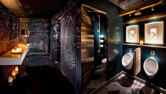 idea para decorar un baño de restaurante con luz tenue íntima