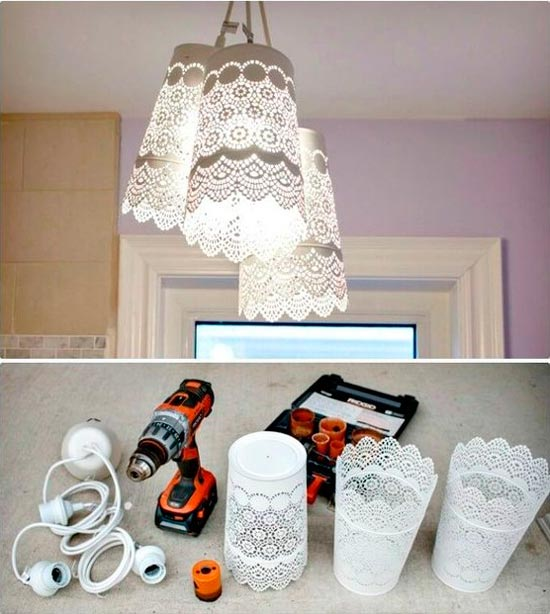 lámpara diy con bricolaje casero