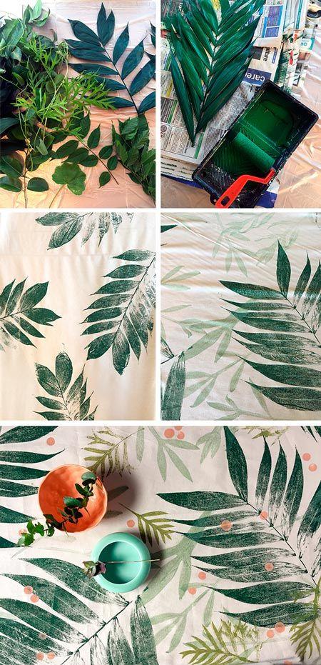 tutorial estampar hojas en tela