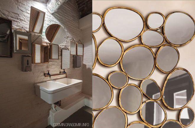multiples espejos para decorar el baño de un restaurante
