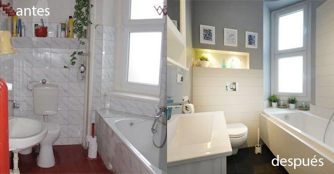 ejemplo de reforma de baño económica, antes y después