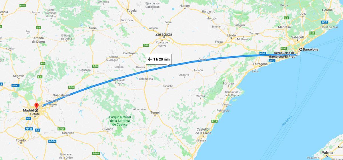 itinerario en avion de barcelona a madrid