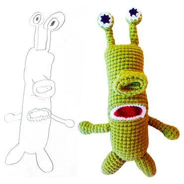 regalo personalizado para niños: peluche de crochet a partir de un dibujo