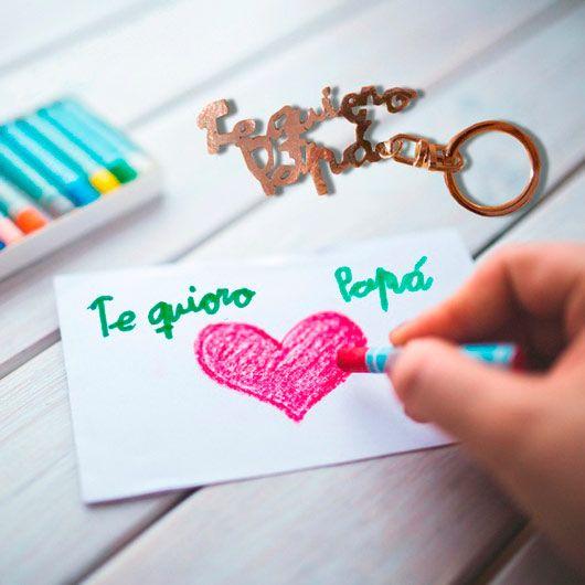 """llavero personalizado con """"Te quiero papá"""" escrito con la caligrafía de tu hijo o hija"""