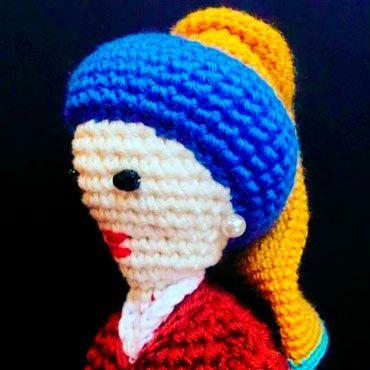 muñeca crochet de la mujer de la perla, o la mona lisa de holanda