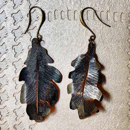 pendientes de hojas de roble