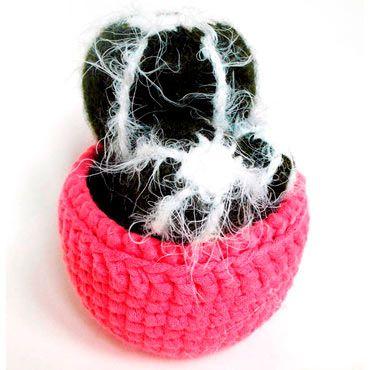 cactus crochet peludo con tiesto incluido
