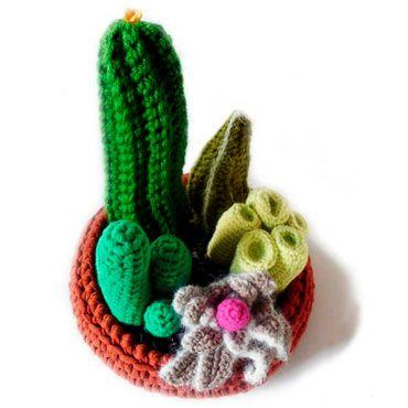 centro de crochet creativo con cactus variados