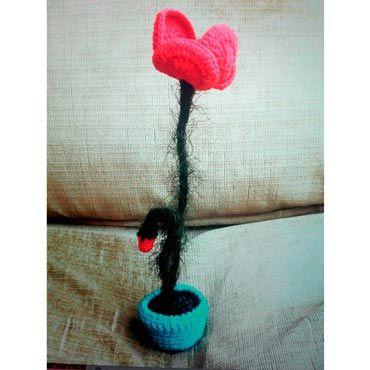 amapola flor de crochet con tiesto de ganchillo