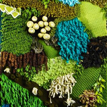 jardín vertical de ganchillo crochet inspirado en el fondo del mar
