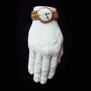 pulsera de crochet de un reloj rolex de ganchillo con hora personalizada