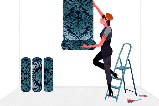 consejo para colocar papel pintado en una pared cuando el patrón tiene estampados grandes
