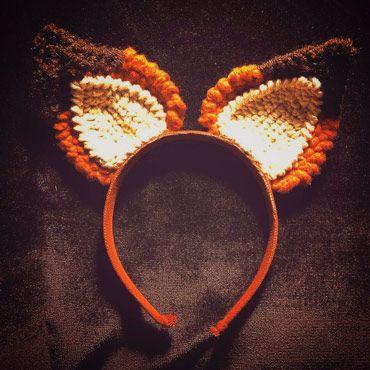 diadema con orejas de zorro de crochet para disfraz