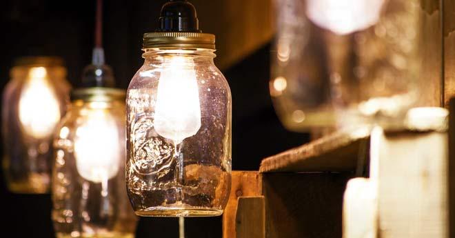 idea para hacer lamparas a partir de tarros de vidrio