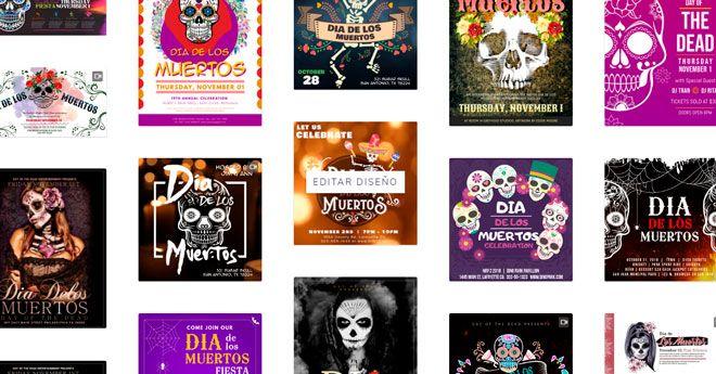 varios templates con posters y banners del dia de los muertos